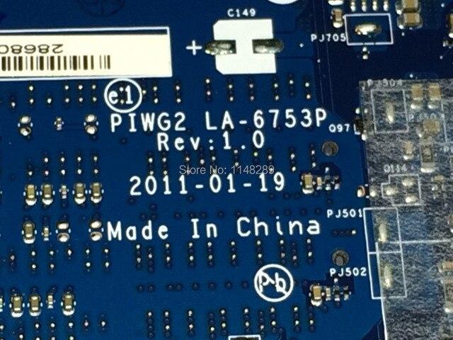 ГОРЯЧИЙ В РОССИИ! гарантия НОВЫЙ Бесплатная Доставка PIWG2 La-6753P REV: 1.0 ноутбук материнская плата для Lenovo G570 Ноутбук