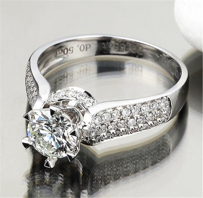 choucong Jewelry Bohemia Classic Six claws Prong setting 5a Zircon CZ ring 925 silver Eternal Wedding Bride band Rings for women