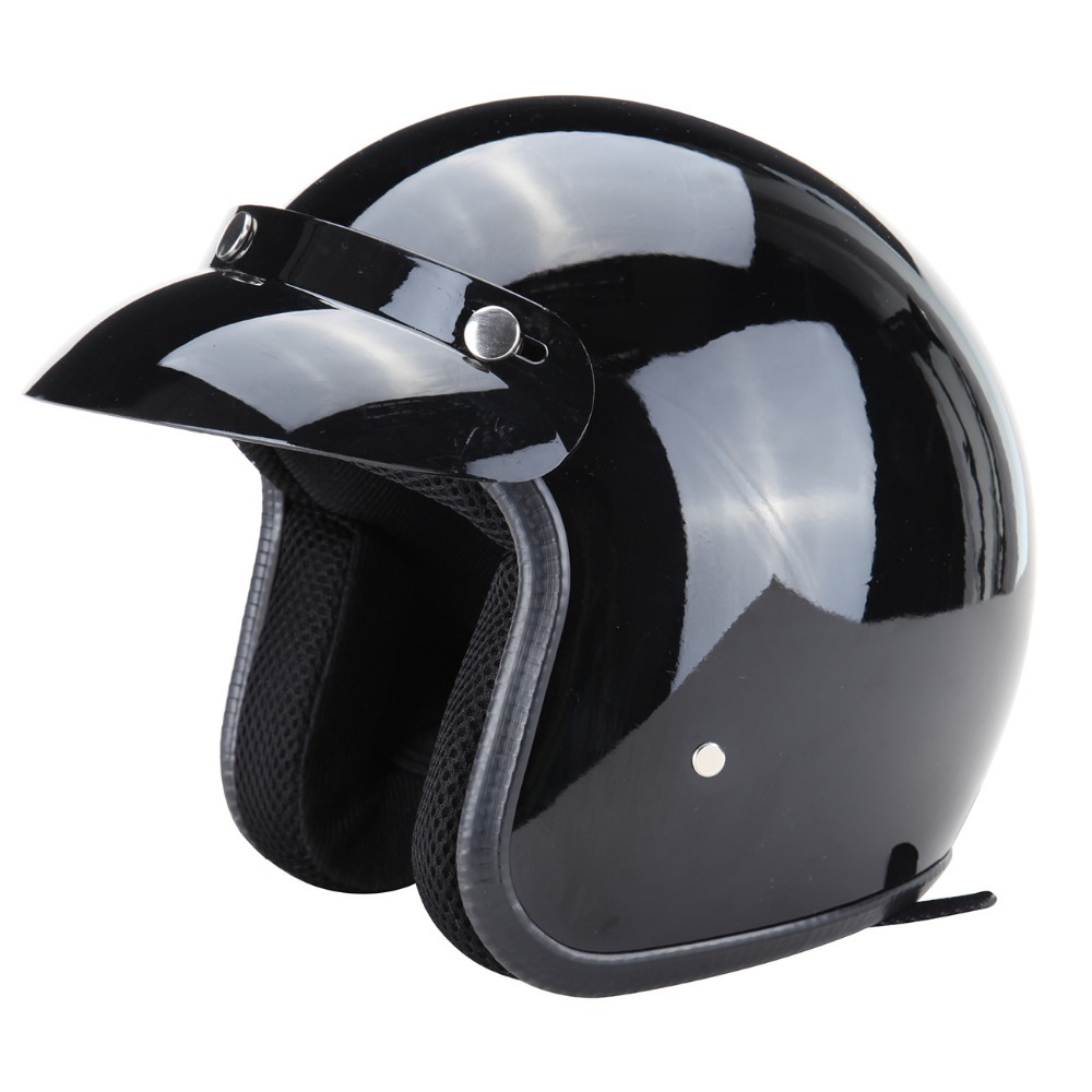 DOT Style ABS Plastic 3/4 Open Face Approved Motorcycle helmet Gloss Black XL