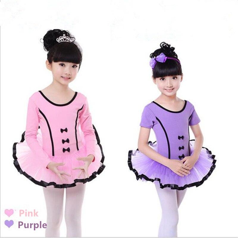 New Children Ballet Dance Dress For Kids Jupe Femme Gauze Skirt Cotton Cute Bowknot Design Costume Tutu Short Sleeve Wholesale