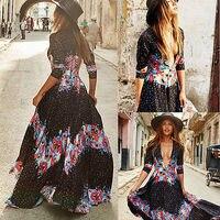 Sexy Women Summer Chiffon With Dot Bohemian Long Maxi Dress Beach Dresses