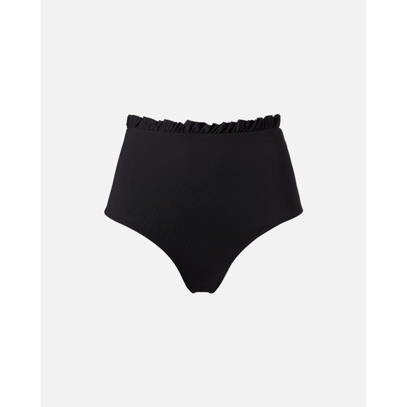 Women Bikini High Waist Underwear Female Swimwear Solid Color Ruffles Lady Short Pants Gym Yoga Soft Girls Black Bikini Bottoms