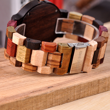 BOBO BIRD Unique Dail Auto Date Colorful Wood Band Wrist Quartz Watches 4