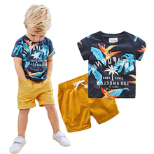 2017 Baby Boys Sets Summer Boys Sets Clothes T shirt+short Pants cotton sports Letter printed Set Children Suit