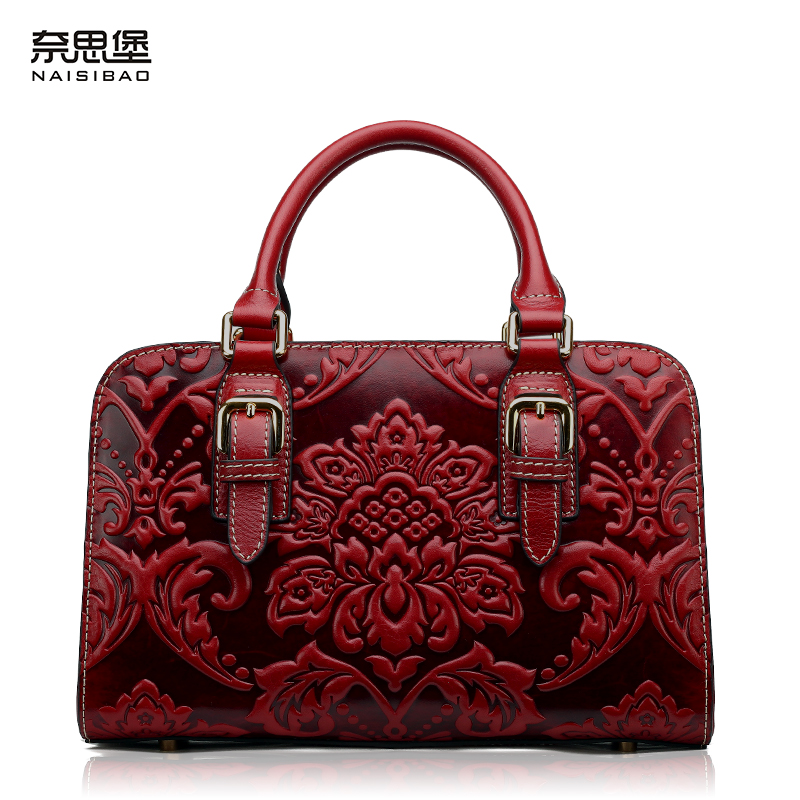 High quality  Chinese style Genuine leather lady Brand Flower pattern handbag Fashion women shoulder Messenger Bag free shipping free shipping new fashion brand women s single shoulder bag lady messenger bag litchi pattern solid color 100