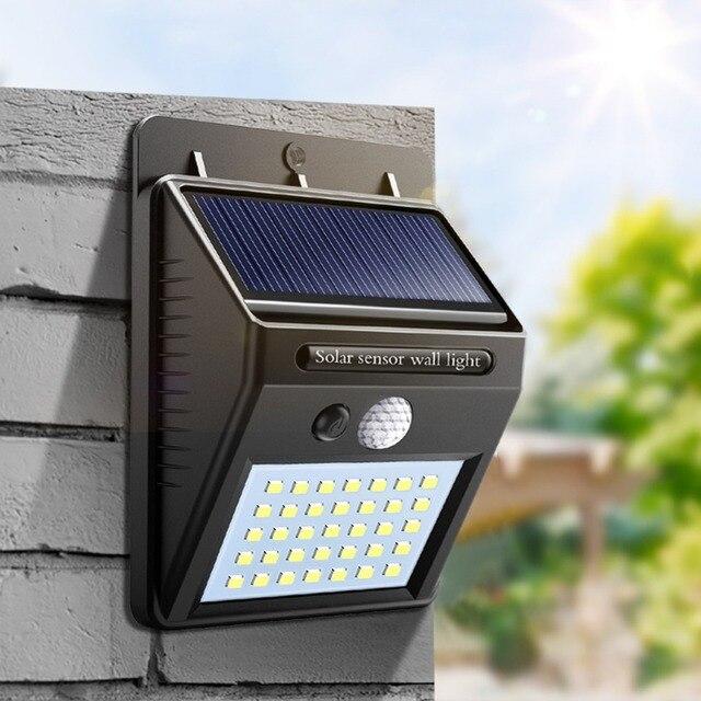 Night Light Solar Powered 35 30 20 LED Wall Lamp PIR Motion Sensor & Night Sensor Control Solar Light garden outdoor lighting