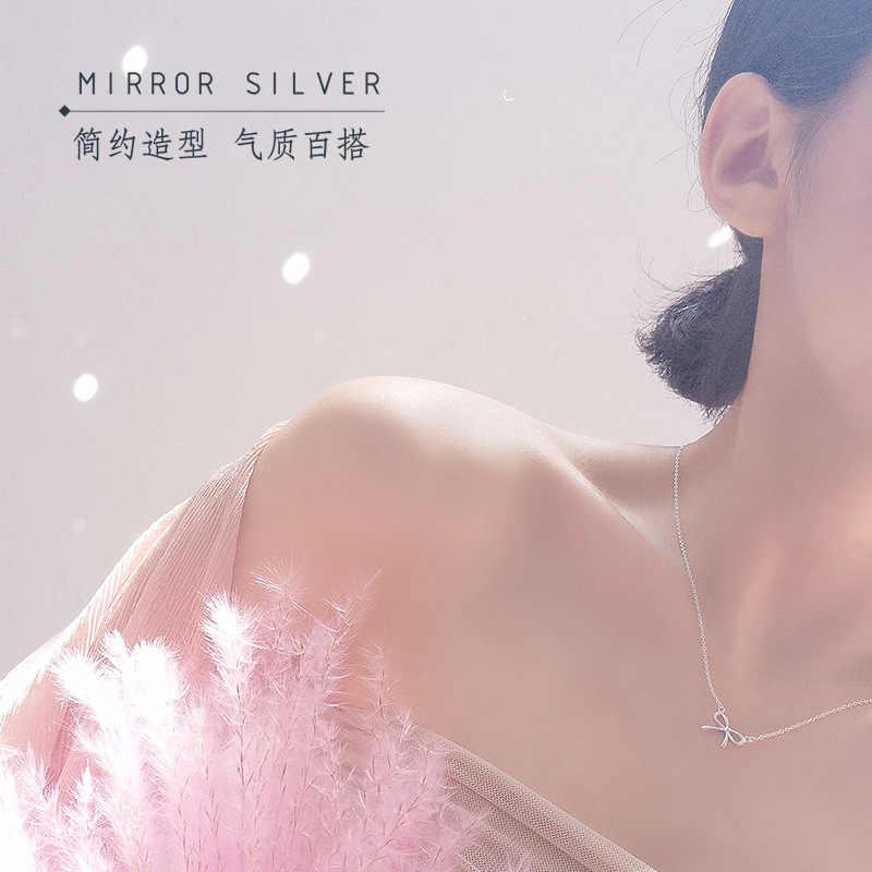RYOUCUTE ファッション 925 スターリングシルバージュエリーロングチェーン韓国の弓ちょう結び女性のウェディング Kolye Collares ビジュー