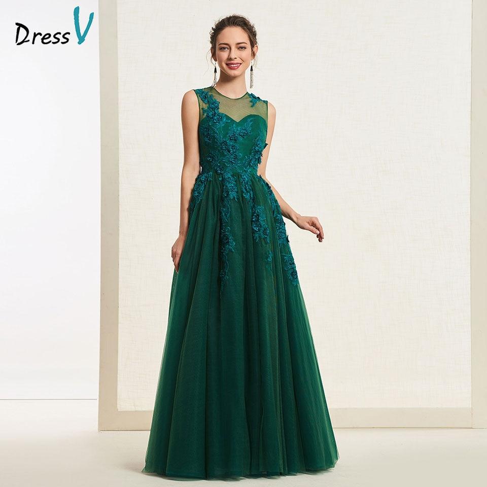 Dressv Dark Green Scoop Neck Evening Dress Sleeveless Appliques A Line Floor Length Wedding Party Formal Dress Evening Dresses