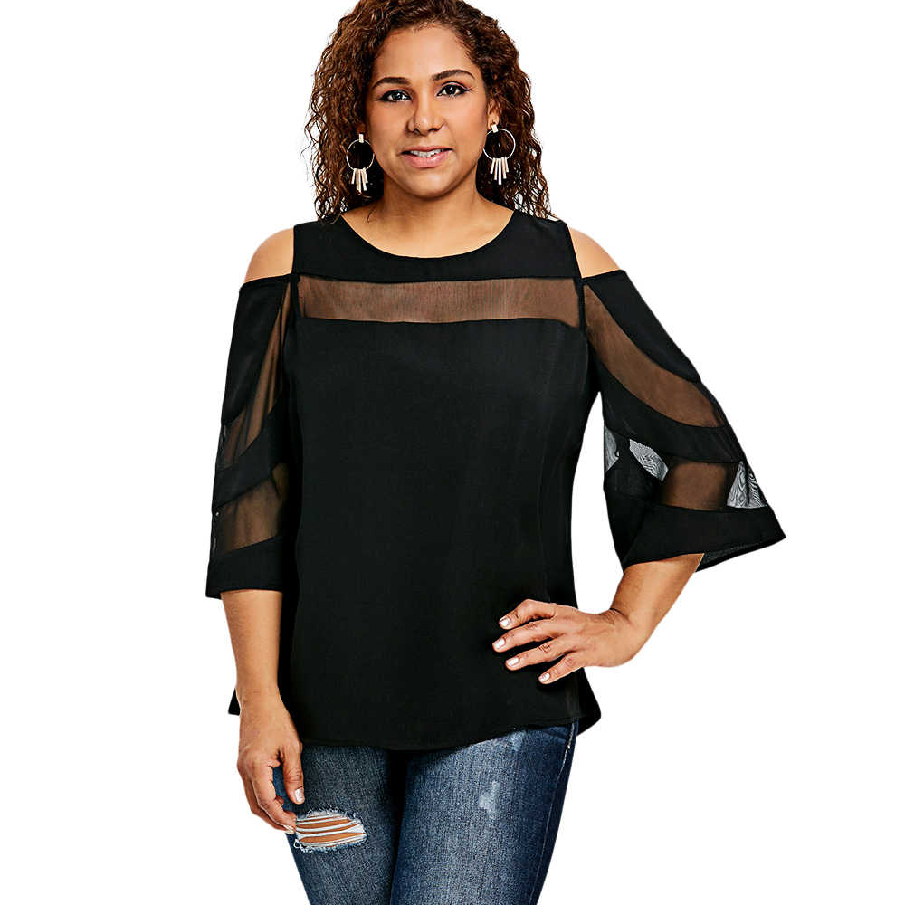 2baba537959 Gamiss Women Blouse Plus Size 5XL Flare Sleeve Mesh Insert Top Cold Shoulder  Panel Shirt Round