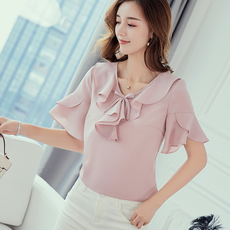 Elegant ladies Short sleeve Ruffle White Pink Women Blouses Bow Summer chiffon blouse work wear formal OL office plus size top in Blouses amp Shirts from Women 39 s Clothing