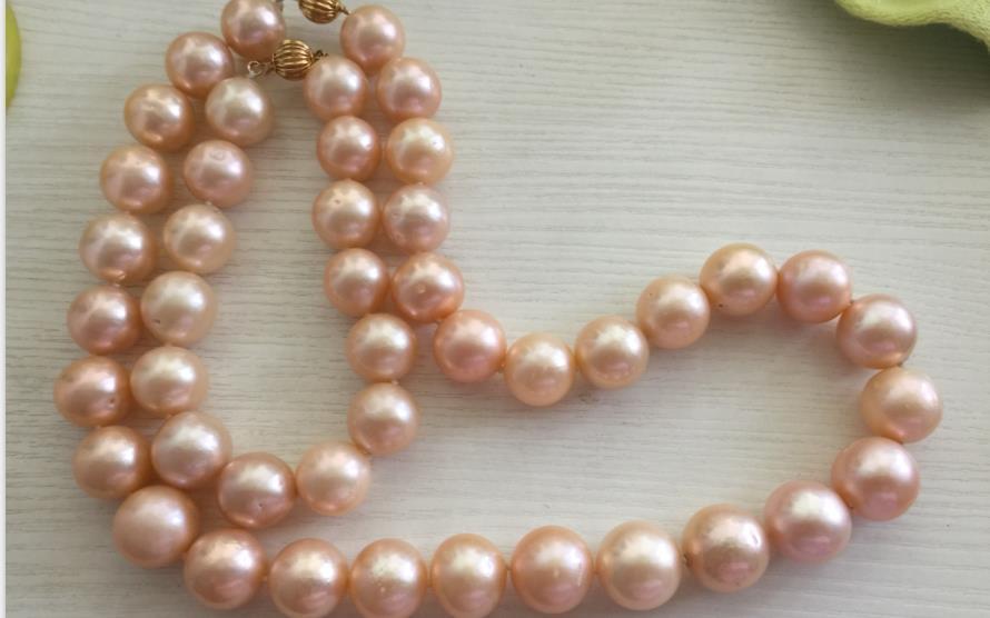 Splendida 13-15mmAAA mare del sud rotonda in oro rosa perla necklace18 & bracelet7.5-8Splendida 13-15mmAAA mare del sud rotonda in oro rosa perla necklace18 & bracelet7.5-8