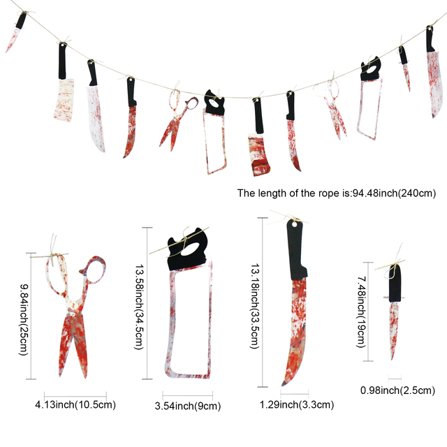 Halloween  Horror Spooky knife tools pull banners Haunted House Hanging Garland Pendant Banner party decoration supplies