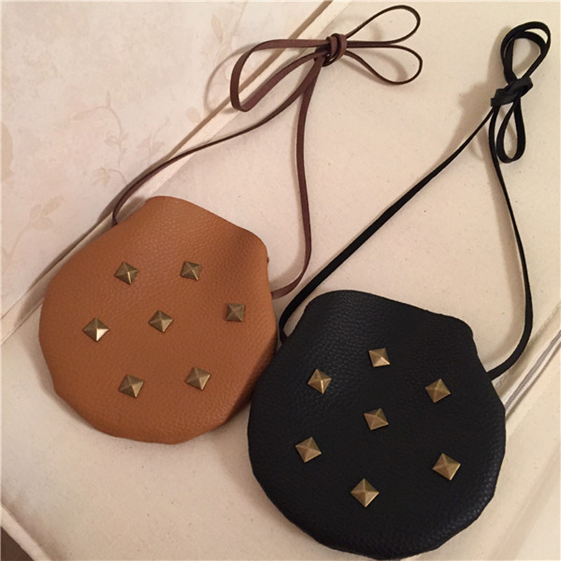 Kids Girls Mini Children Decorative Bags Bronze Rivets PU Handbag Messenger Shoulder Bag Candy Coin Handbags Purse Satchel