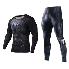 Bodysuit Skinny Men Funny T shirt 3d Plus Compression Sets Long Fitnes