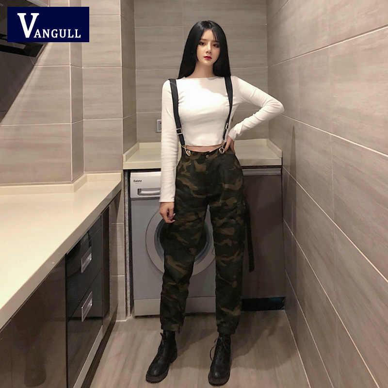 VANGULL камуфляжные женские брюки-карго комбинезоны 2019 весна осень модные длинные Jogger Брюки Комбинезоны женские уличные комбинезоны