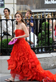Fashinable Dresses Gossip Girl Red Prom Dress Evening Gown Blair Waldorf Dresses Ruffled High Low Celebrity Dress