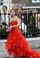 Fashinable vestidos Gossip Girl Red vestido de fiesta vestido de noche Blair Waldorf vestidos con volantes alto bajo Celebrity vestido vestido