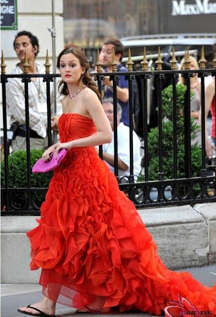 a571670af Fashinable vestidos Gossip Girl Red vestido de fiesta vestido de noche  Blair Waldorf vestidos con volantes