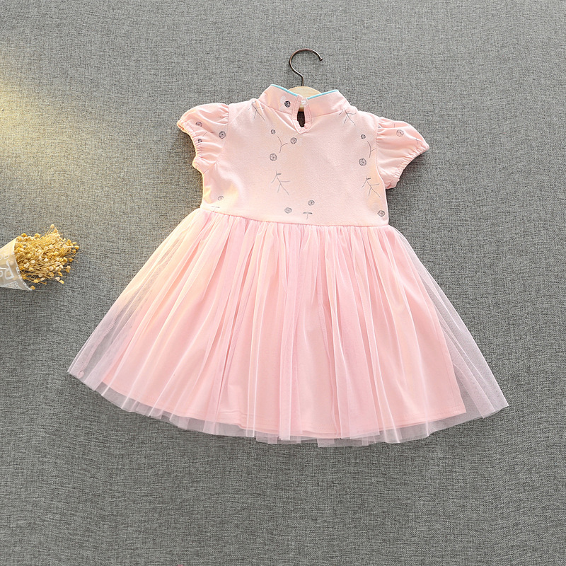 Baby girls dress Chinese style short dress Crow grey A line costume Baby Kids Clothing Vestidos Day Fairy Tutu Mini Dress
