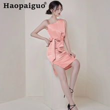 Plus Size Casual Bandage Pink Dress Women Sleeveless Sheath Formal Evening Party Solid Dresses Woman Night