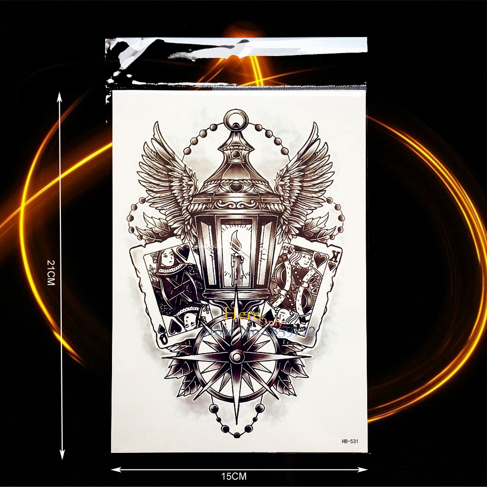 Trendy Temporary Tattoo Light Wing Feather Compass Design Waterproof