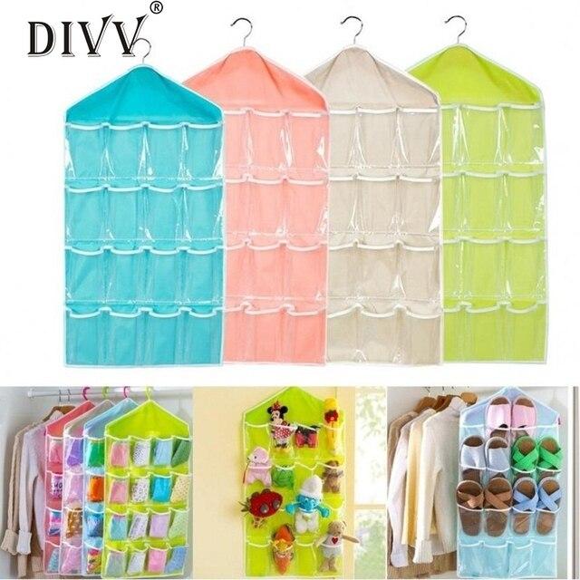 Etonnant 16 Grid Sorting Storage Hanging Bag Clear Socks Shoe Toy Underwear Sorting Storage  Bag Door Wall