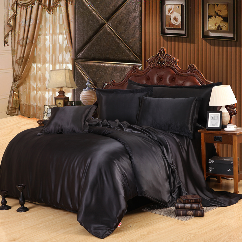 Solid Color Black Color Satin Silk  Luxury Cool Bedding Set For Summer With Duvet Cover Flat Sheet Pillowcase