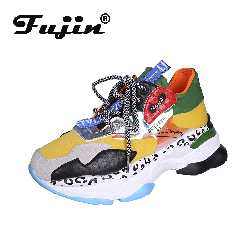 Fujin 2019 New Sneakers Dropshipping Women Platform Casual Flats Breathable Soft Woman Chunky Shoes Chaussure Femme