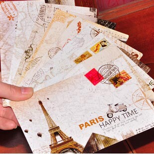 Free Ship!90pc!Personality Postcard / Retro Europe And The United States DIY Paris Tower  Greeting Card/no Paper Envelopes