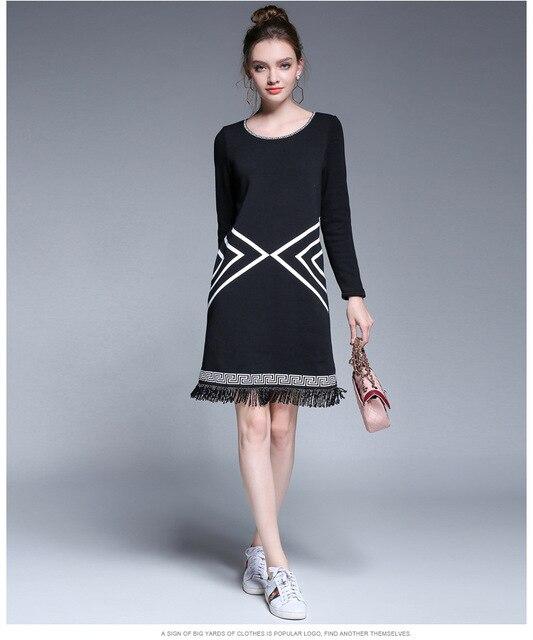 Kerrilado New Fashion With Velvet Winter Plus Size Black Women Dress