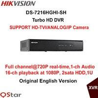 Hikvision Original Turbo HD DVR DS 7216HGHI SH SUPPORT HD TVI Analog IP Camera 2HDD Fullchannel