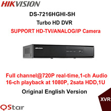 Hikvision Original English Turbo HD DVR DS-7216HGHI-SH Support HD-TVI/Analog/IP Camera 2HDD Full channel@720P real-time