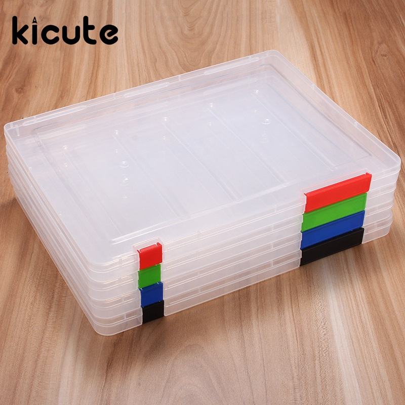Kicute A4 Clear File Tranparent Plastic Document Cases Desk Paper Organizers Holders Storage Box School Office Supplies