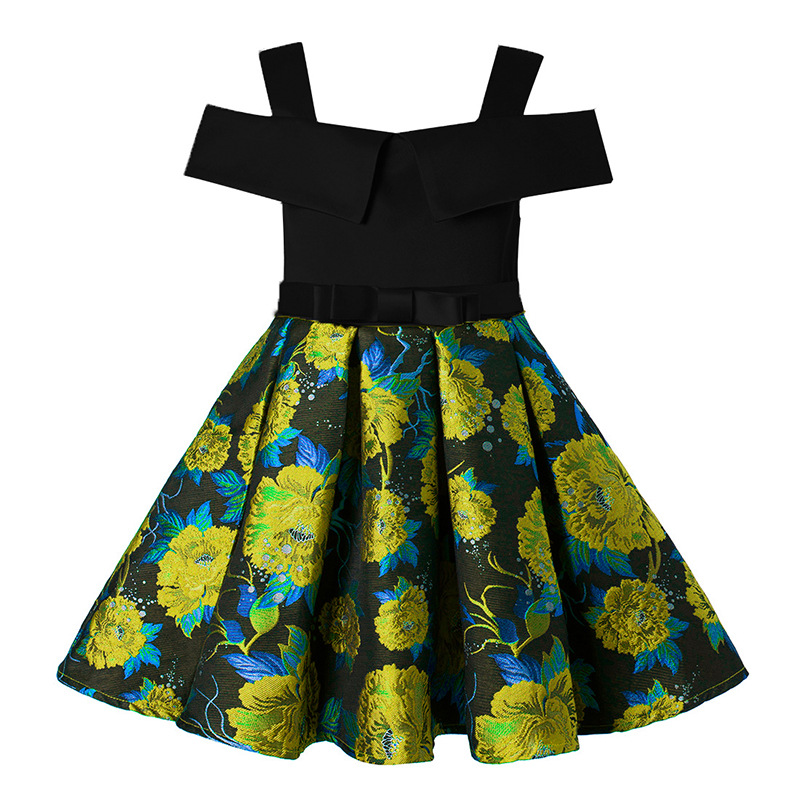 Children's girls dress Floral Jacquard strapless Princess Fashion Frocks For Birthday wedding party costumes 2 4 6 8 10 Years girls tulle tailing embroidery lace bow dress for wedding birthday party manual nail bead frocks costumes size 4 6 8 10 12 years