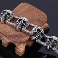Оптовая продажа ювелирных изделий подвески Мужчины браслет из нержавеющей стали 316L тяжелая байкер ювелирные изделия мужчины череп браслет оптом