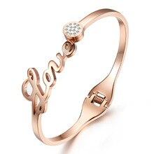 Heyrock Korean Full Crystals LOVE letters Bracelet Bangles for Women Openble Stainless Steel Rose Gold Silver Jewelry X'mas Gift