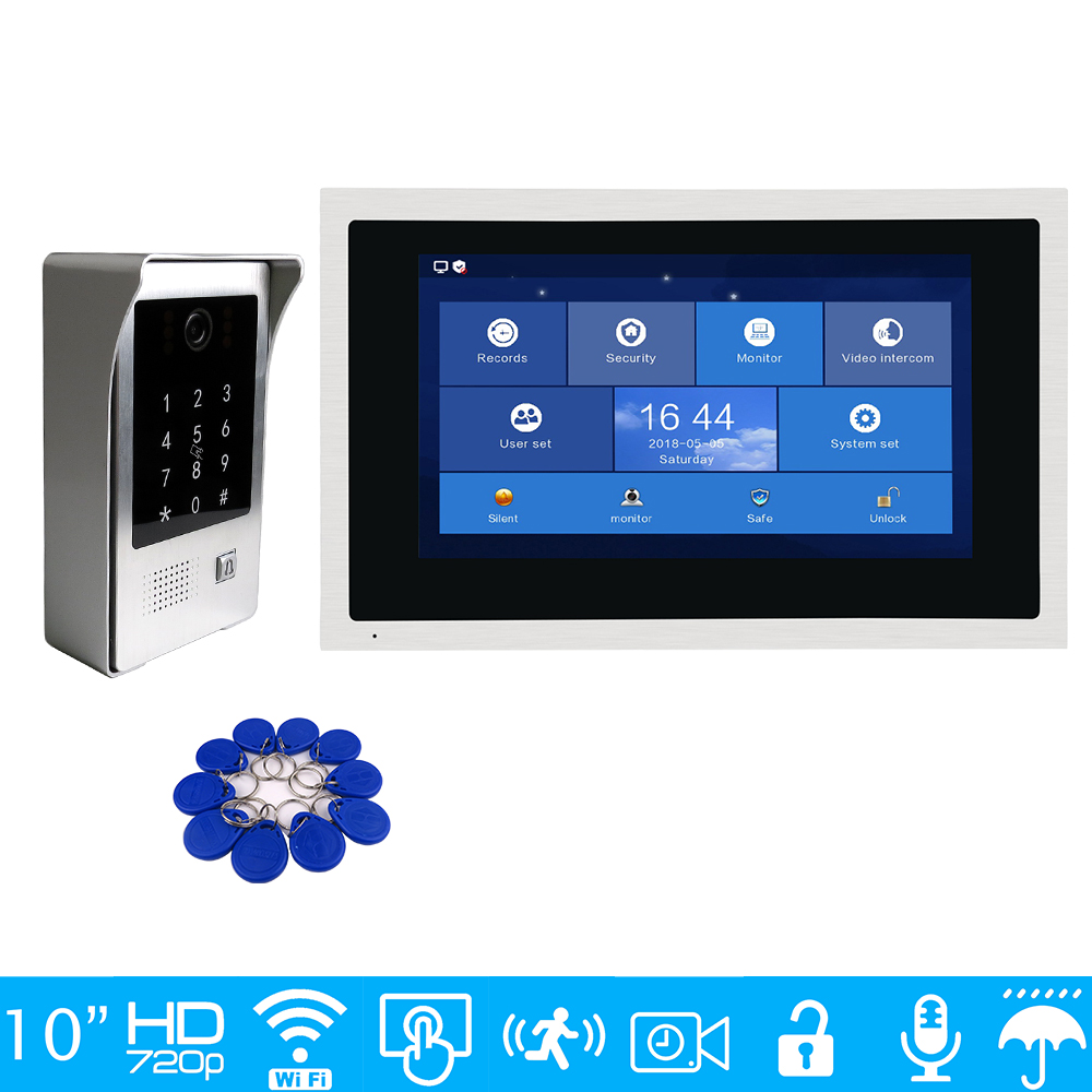 Free Shipping 720P WIFI IP 10 Touch Screen Video Intercom Door Phone Recording Kit Phone Remote