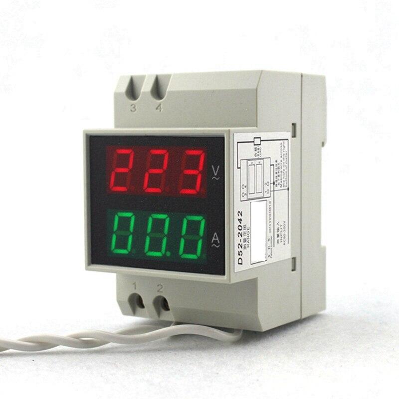 DIN RAIL digitální střídavý voltmetr ampérmetr AC80-300V 450V - Měřicí přístroje - Fotografie 2