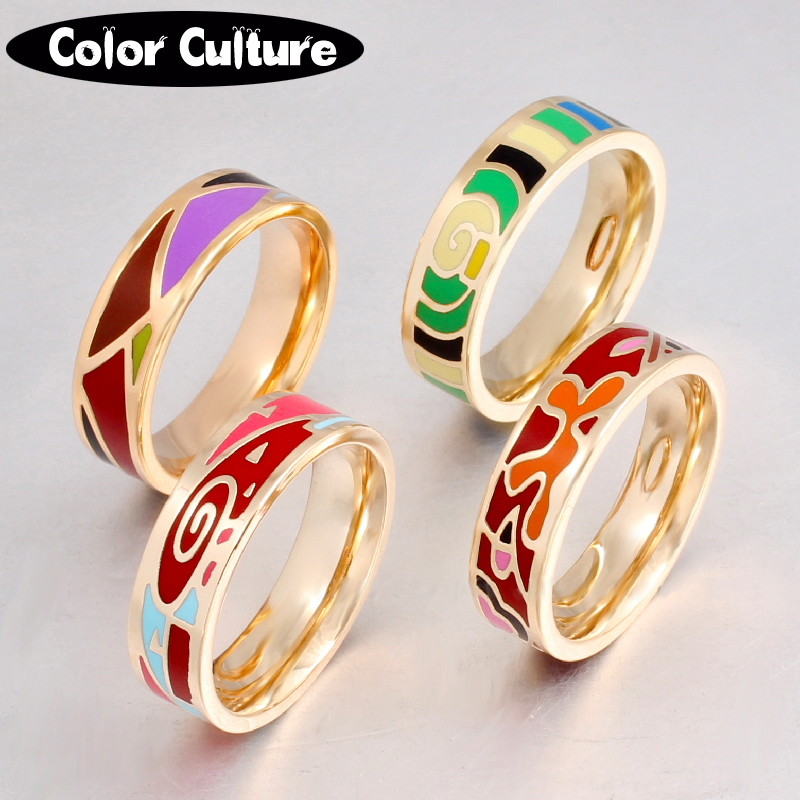 TOP Quality Gilded Stainless Steel Ring For Women Vintage Ring 0.6mm Costume Jewelry Wholesale Ring 19 Style