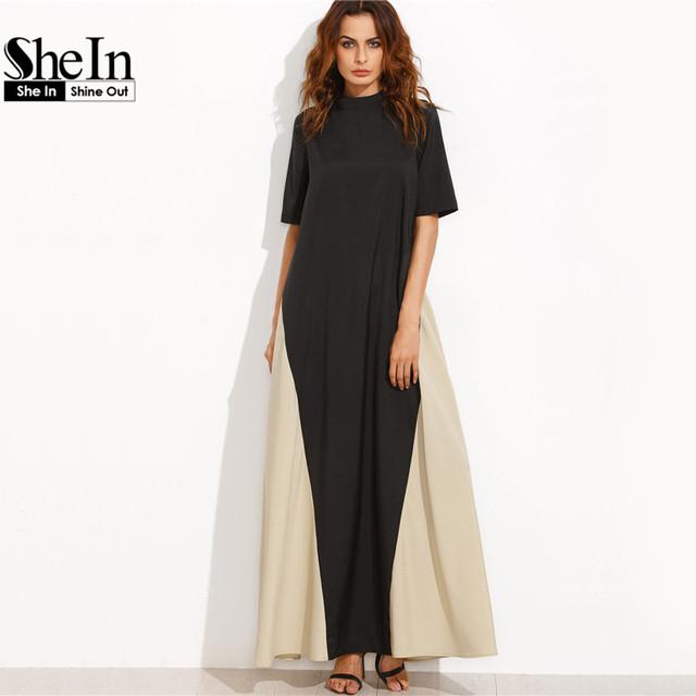 SheIn Casual Dress Full Sleeve Dresses Ladies Summer Black and Camel Color Block Mock Neck Short Sleeve Maxi Tent Dress