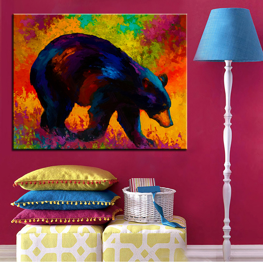 Large size Printing Oil Painting roaming black bear Wall painting ...