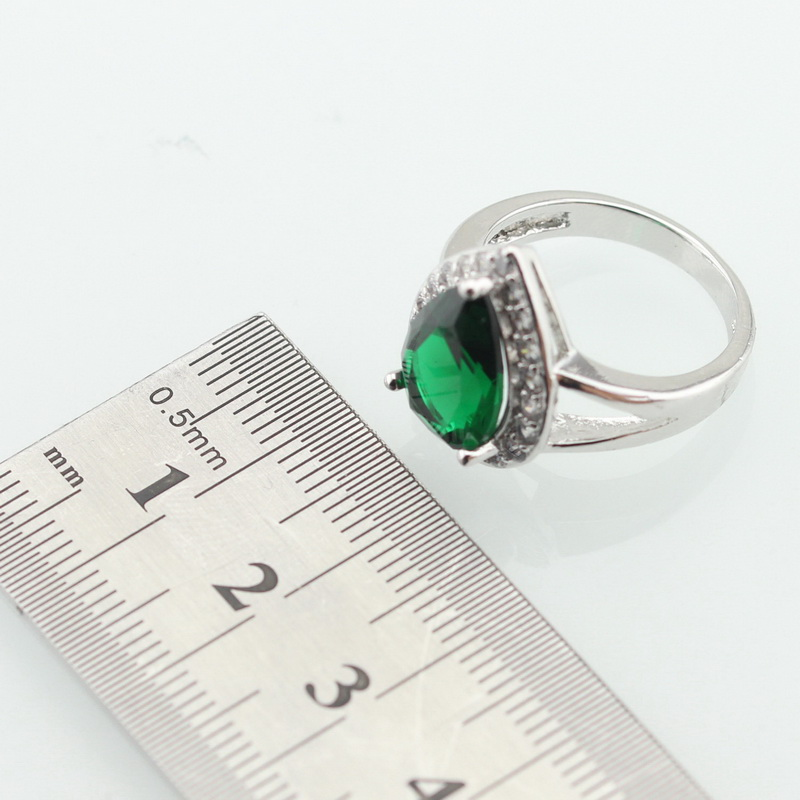 WPAITKYS Drop Water Trendy Green Cubic Zirconia Silver Color Ring For Women Party Crystal Jewelry Size 6 7 8 9 10 Free Gift Box 3