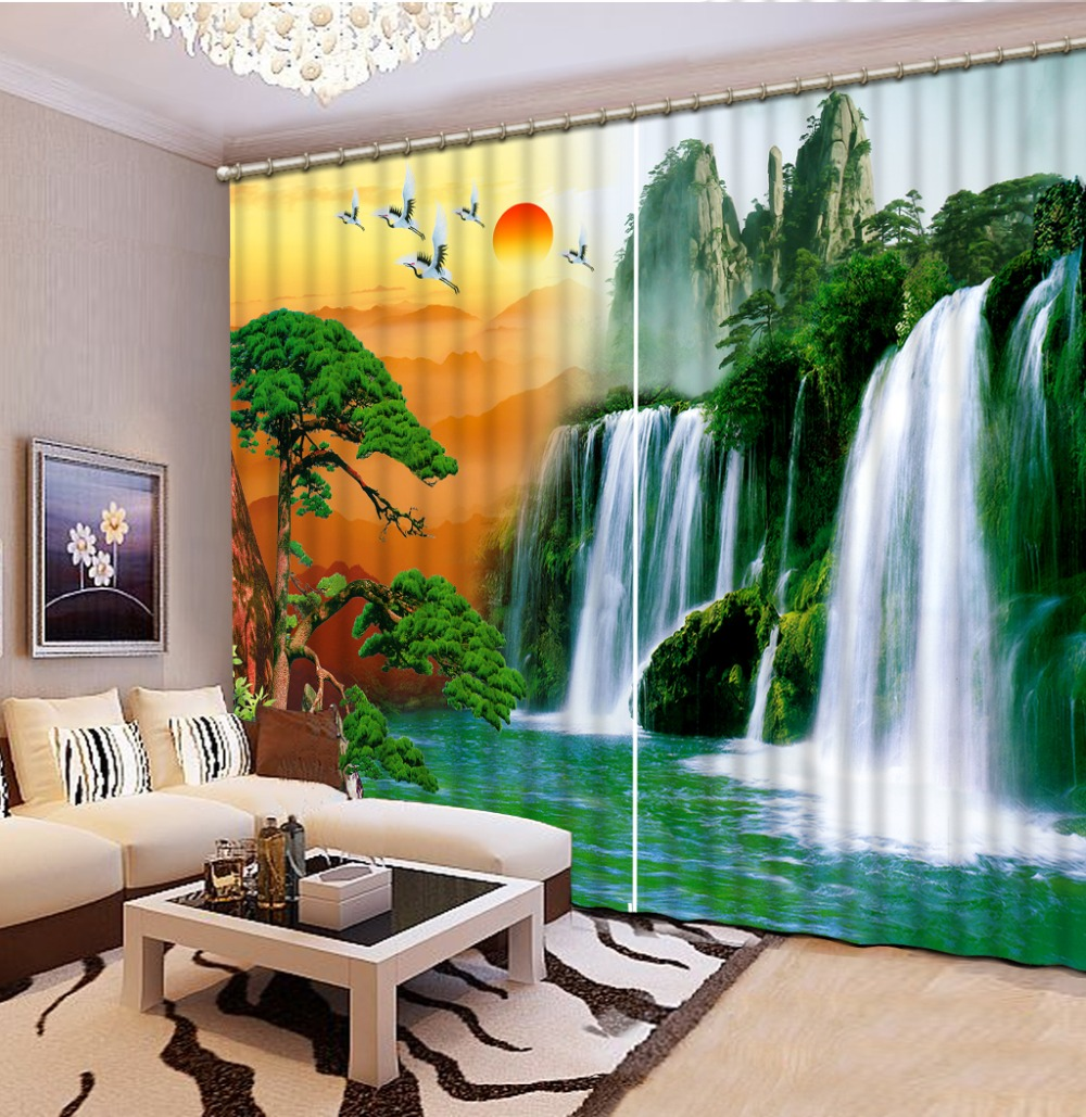 scenery curtains waterfall Window Blackout Luxury 3D Curtains set For Bed room Living room Office Hotel Home Wall Decorative