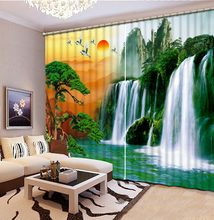 scenery curtains waterfall Window Blackout Luxury 3D Curtains set For Bed room Living room Office Hotel Home Wall Decorative(China)