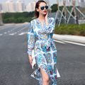 2016 Early Autumn Designer Long Dress Women's Elegant Long Sleeve V-Neck Blue Porcelain Pritned Beading Slit Maxi Dress