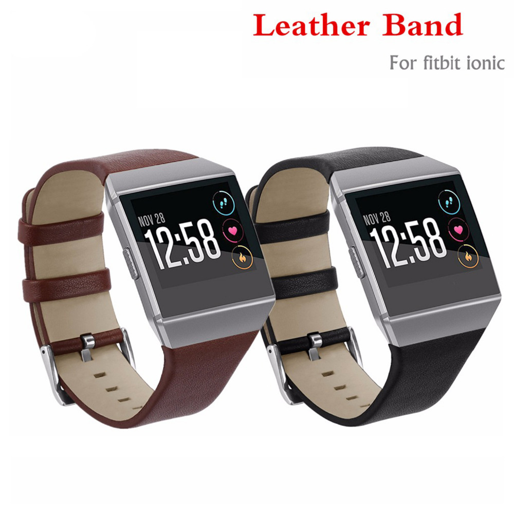 Classic Genuine Leather strap band for fitbit ionic Bracelet belt Replacement wristband smartwatch Watchband with metal buckle amumu guitar strap sbr memory foam plus rubber band belt with genuine leather ends 110 130cm s529