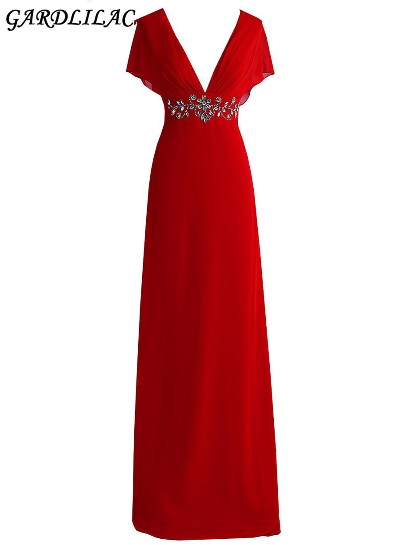 Chiffon V neck Red Long Evening Dress Bead Sleeveless Simple Evening Dress Real Photo Vestidos para festa