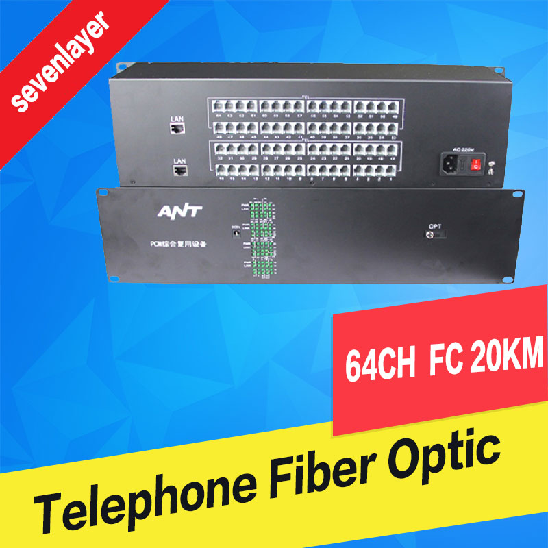 64 Channel Telephone And 1 Channel 100M Ethernet Fiber Optic Converter/Transceivers , FC Fiber Optic Port, Single Mode