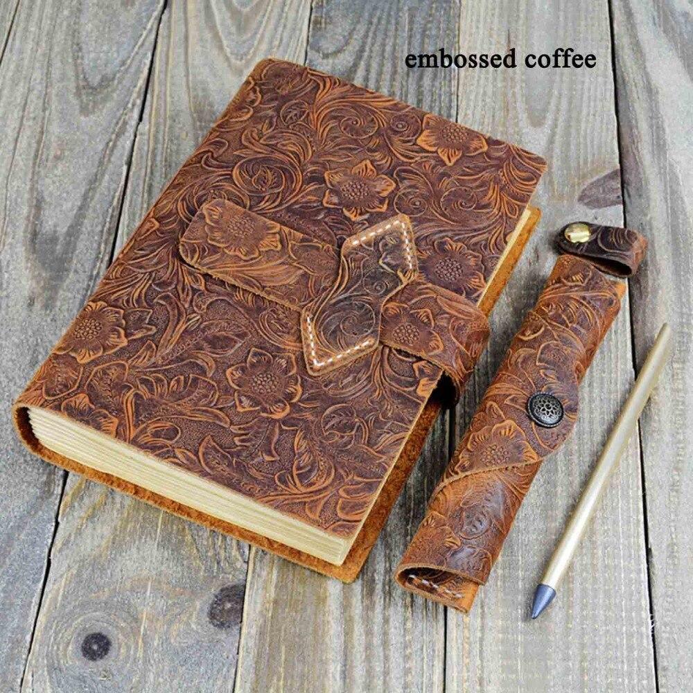 A5 Journal de voyage en cuir véritable carnet de croquis planificateur fait à la main en cuir de vachette Vintage carnet Journal Kraft Journal blanc avec sac à stylo