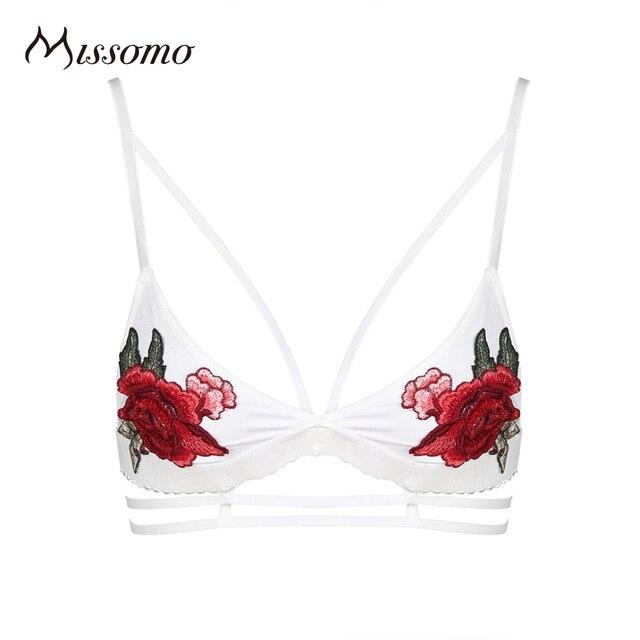 Missomo 2017 Новые Моды для Женщин Белый Sexy Push Up Упругие Вышивка Беспроводной Женского Нижнего Белья Мягкой Обивки Дышащая Цветок Бюстгальтер